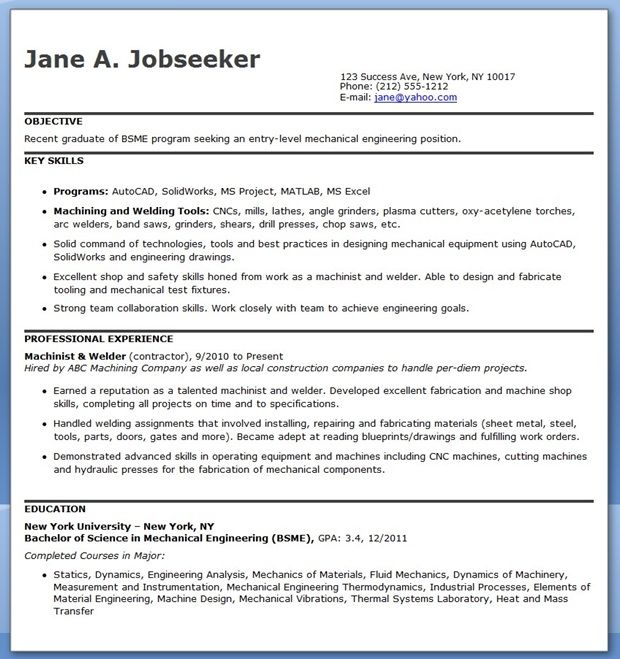 Mechanical Engineering Resume Template Entry Level Creative - entry level resume templates