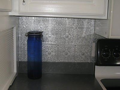 Spray paint paintable wallpaper silver for an expensive looking backsplash! | home design ...