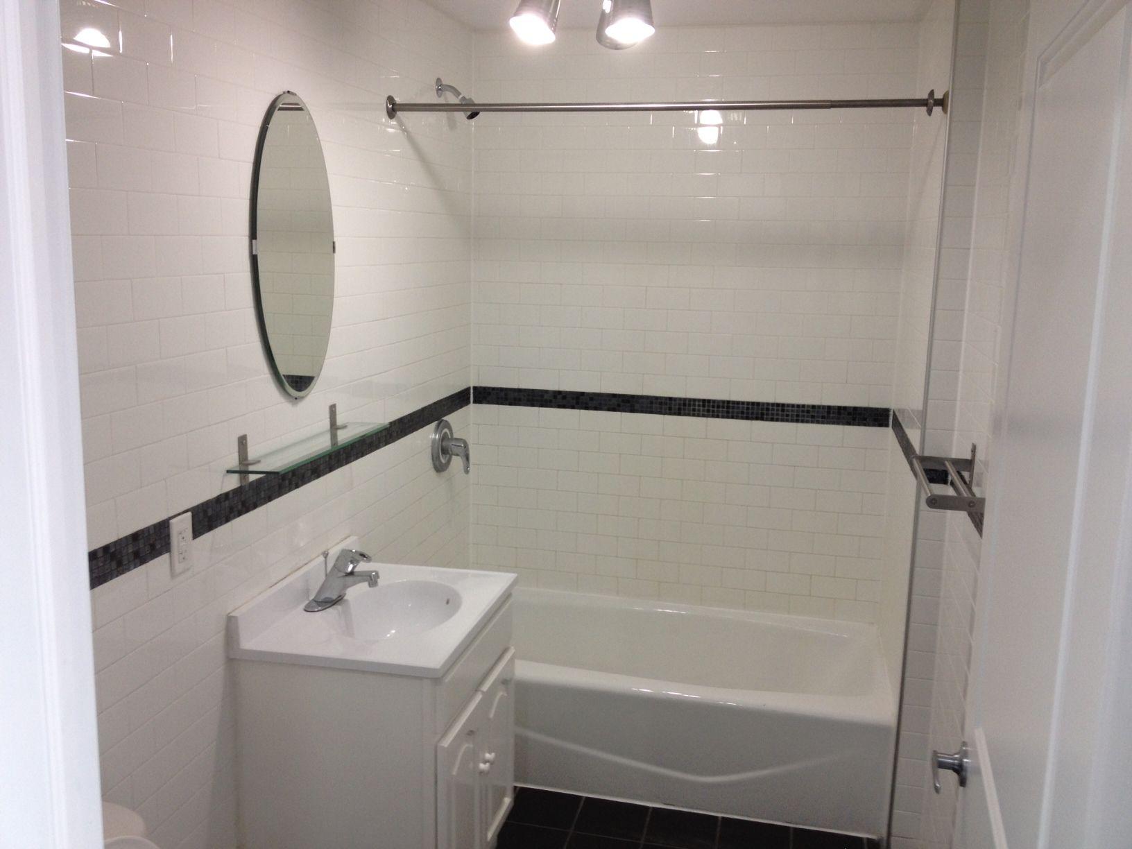 Bathroom design with subway tiles