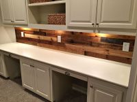 Pallet Wood Wall with built in desk   Revival Woodworks ...