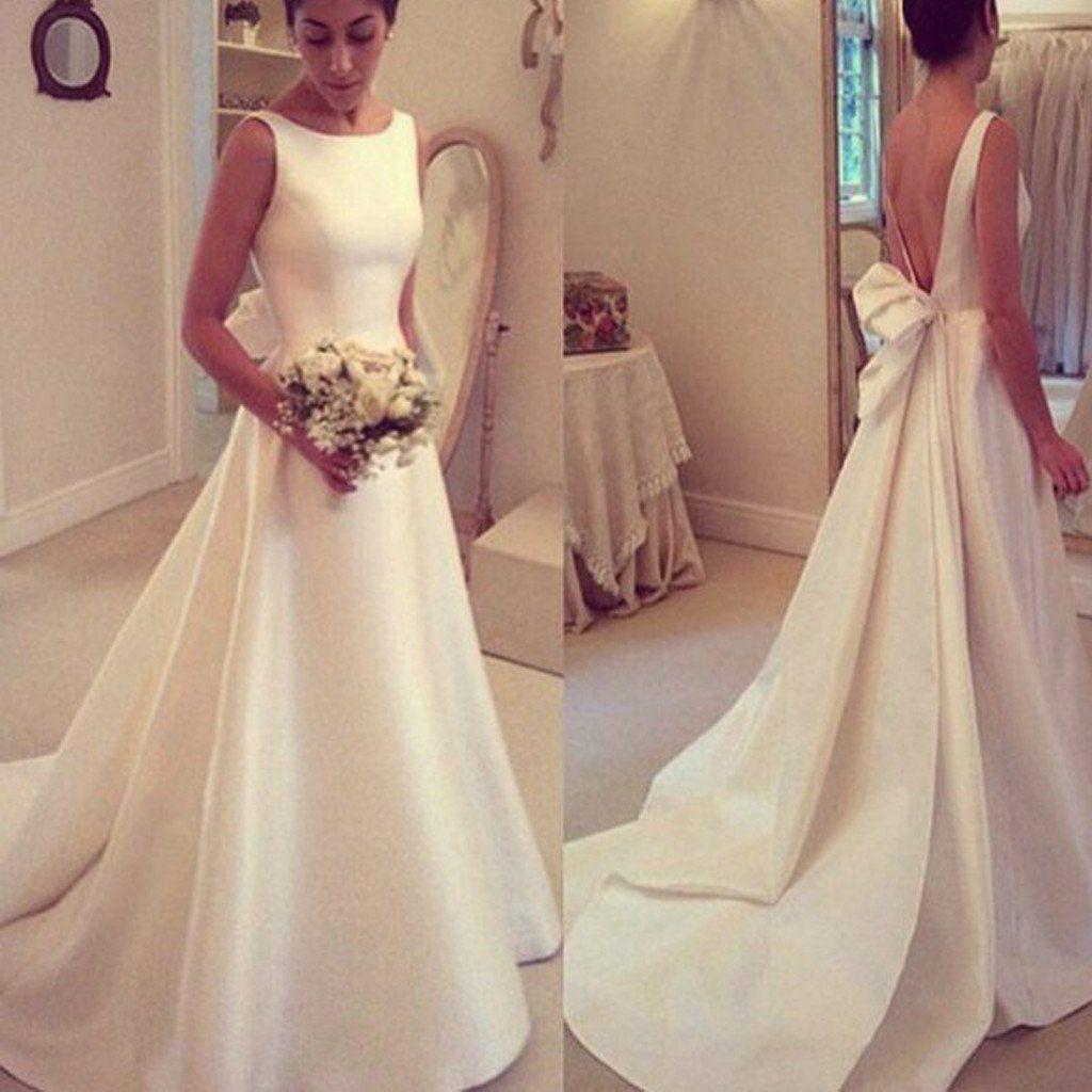 elegant wedding dresses Elegant A line Simple Open Back Bowknot Sweep Train Wedding Dresses WD