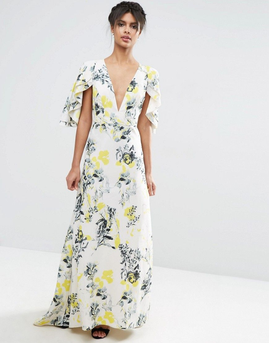 wedding guest maxi dress Wedding guest maxi dress perfect for a garden or rustic wedding from ASOS Ruffle Cape Deep