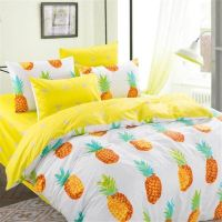 Twin size Pineapple print bedding set (4pcs) includes: 1x ...