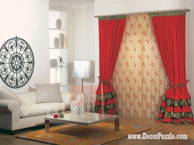 contemporary red curtain style 2015 for living room, modern - red curtains for living room