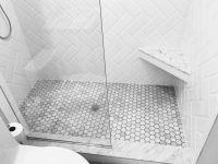 Marble and white subway bathroom shower. White beveled ...