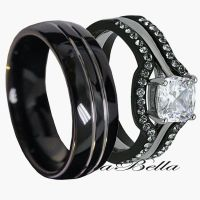 His Tungsten & Hers Black Stainless Steel 4 Pc Wedding ...