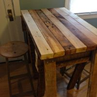 Reclaimed wood kitchen island top | Living Spaces ...