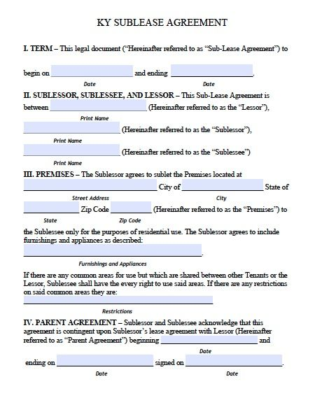 Free Kentucky Sublease\/Roommate Agreement Form u2013 PDF Template - roommate rental agreement