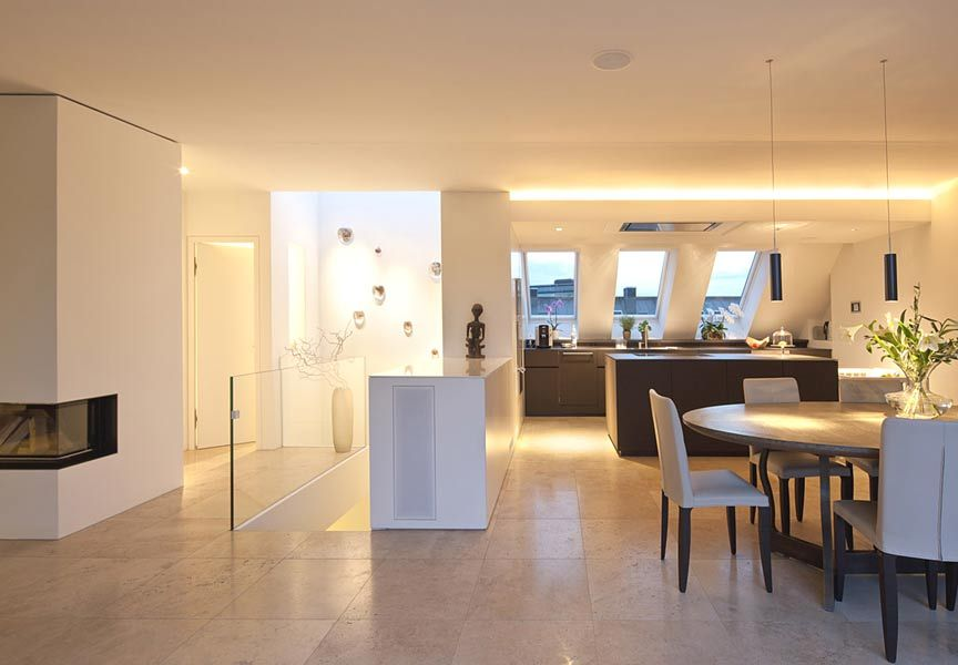 Offene Küche mit Esszimmer und Fliesenboden Küche Pinterest - inneneinrichtungsideen wohnzimmer kuche