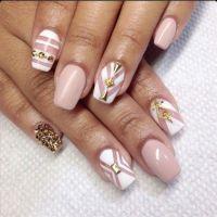 Beige & White Square Tip Acrylic Nails w/ Gold Rhinestones ...