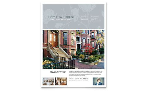 Townhouse Flyer ER Promo Pinterest Flyer template, Real - microsoft templates for flyers