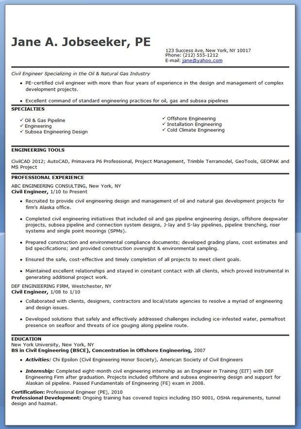 civil engineer resume template experienced