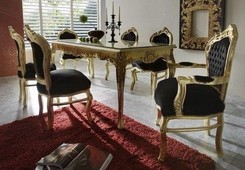 Casa Padrino Barock Esszimmer Set Schwarz\/Gold - Esstisch + 6 - esszimmer barock