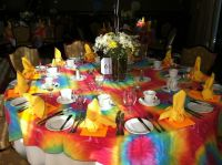 Tie dye tablecloths for 60's table. | Table settings ...