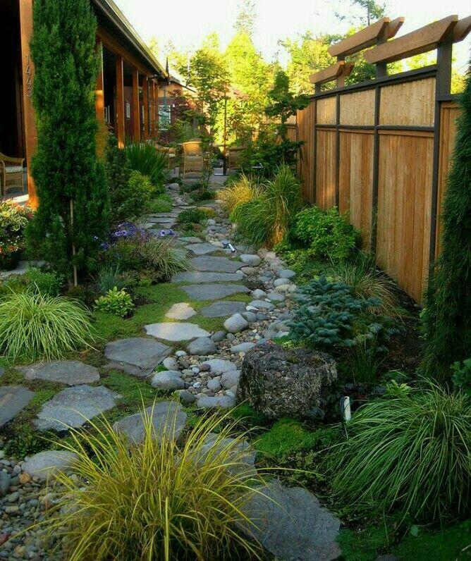 Side yard garden and landscaping design