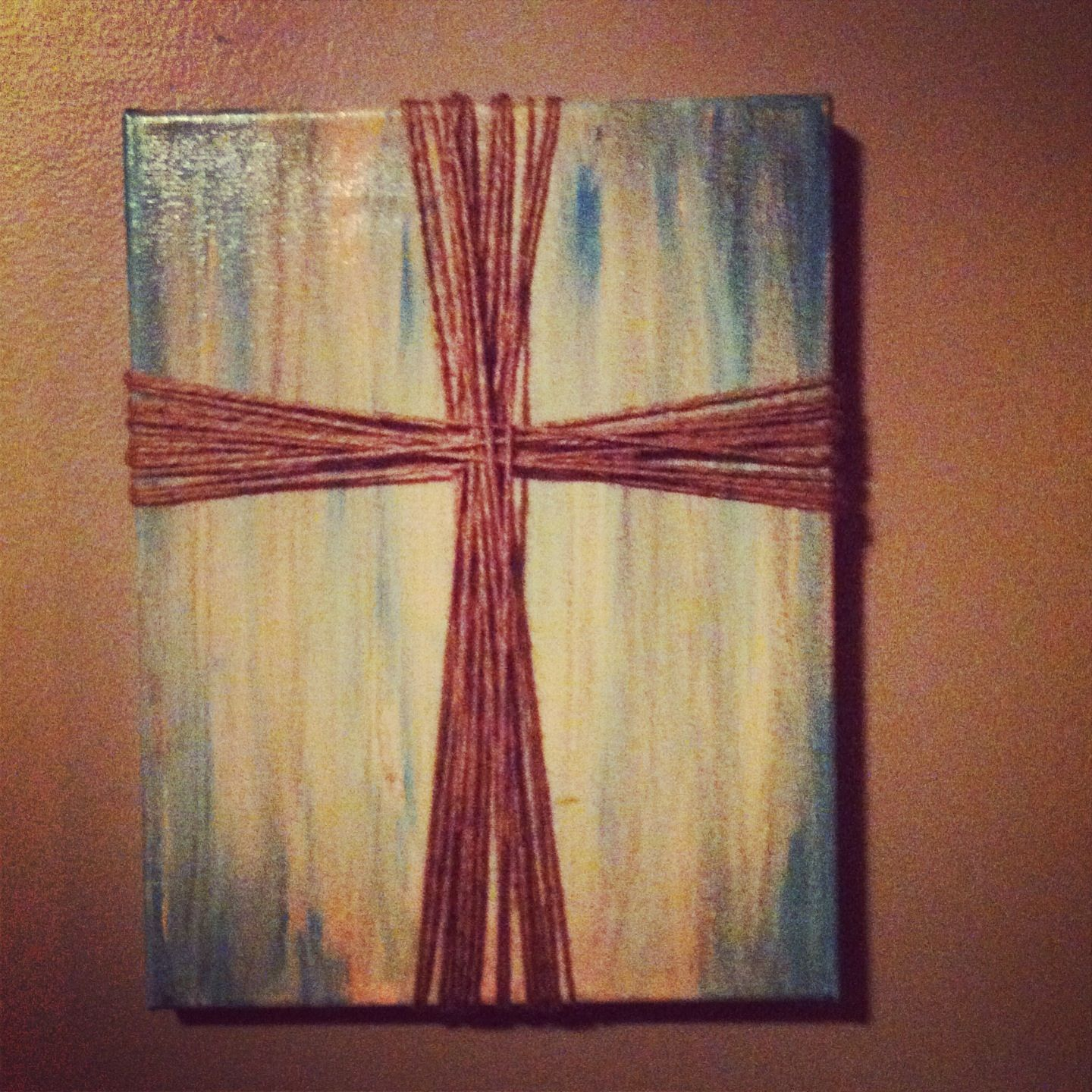 Art Painted On Wood Canvas Paint Wood Stain And Jute Pins I 39ve Actually