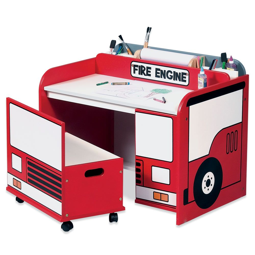 Fire engine toy box art desk shared by lion