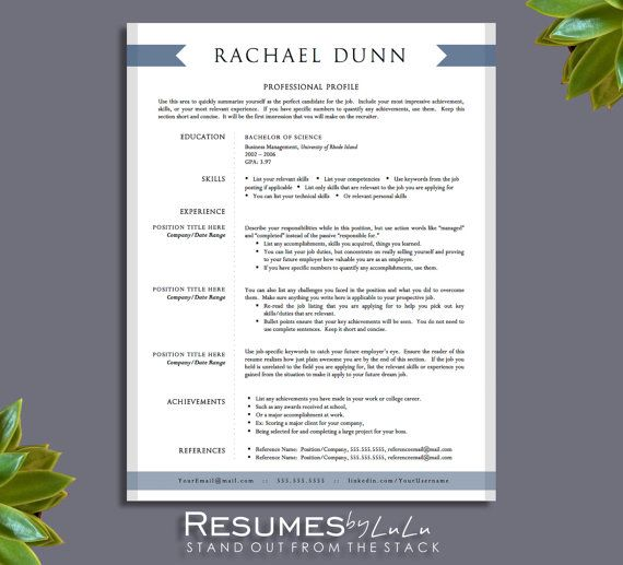 1 and 2 page Resume Template for Word and Pages + Cover Letter - professional cover letters