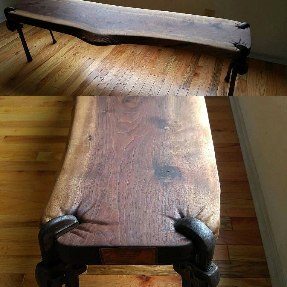 Messerblock Design Wood Bench With Repurposed Pipe Wrenches | Repurposing