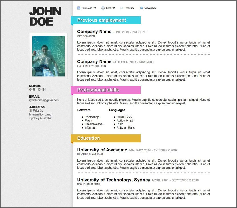 12 Free Minimalist Professional Microsoft Docx And Google Docs CV - resume ms word format