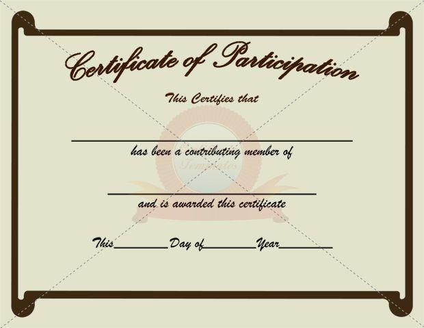 Participation Certificate Template PARTICIPATION CERTIFICATION - certificate of participation free template