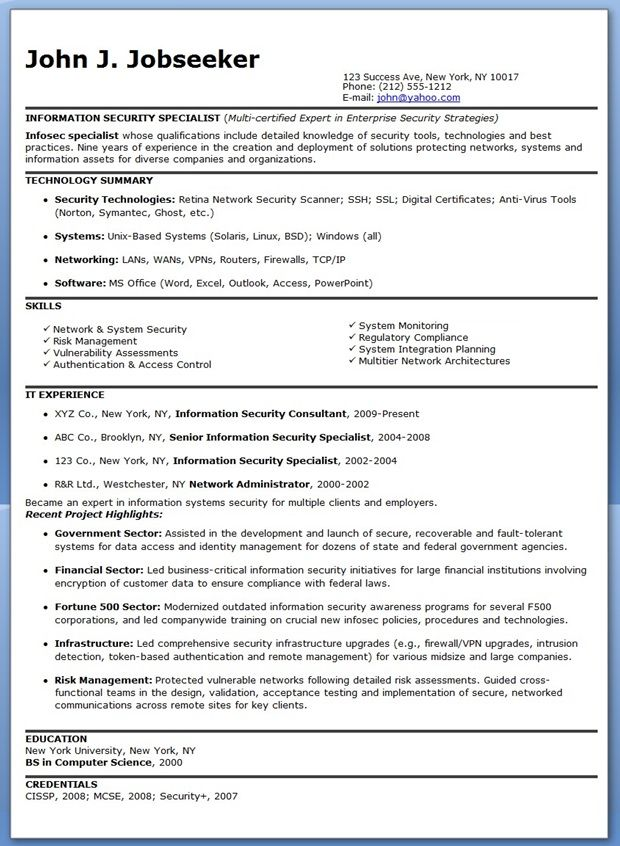 Information Security Specialist Resume Sample Creative Resume - training specialist resume
