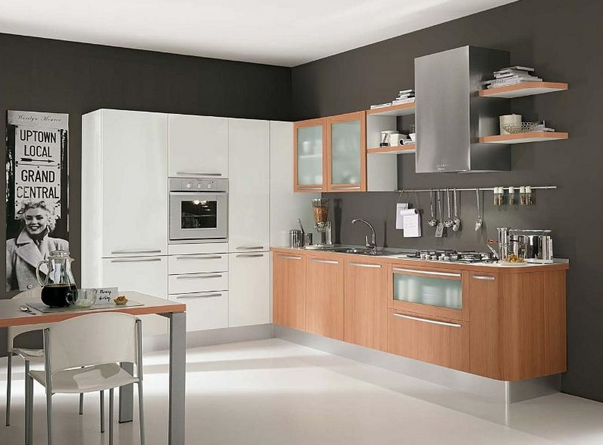 contemporary kitchen cabinets Modern White Wood Kitchen Cabinets Simple Design 6 On Living Room Simple Home Design