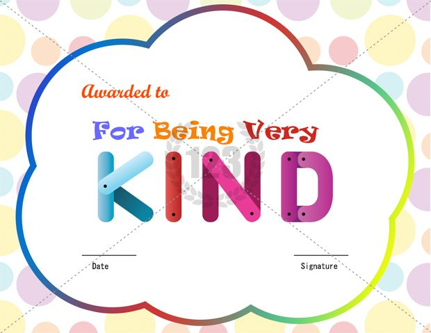 For Being Kind Award Certificate Template Download Free - award certificate template