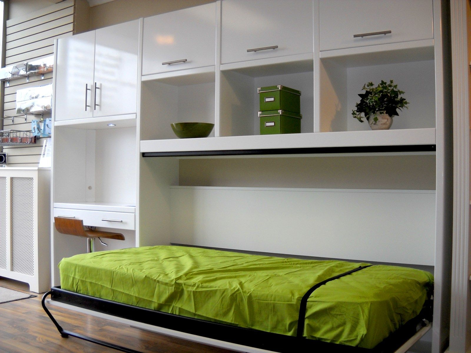 Bedroom cool green murphy bed on white cabinet feats decoration racks and white desk with brown leather chair fabulous murphy bed ikea design