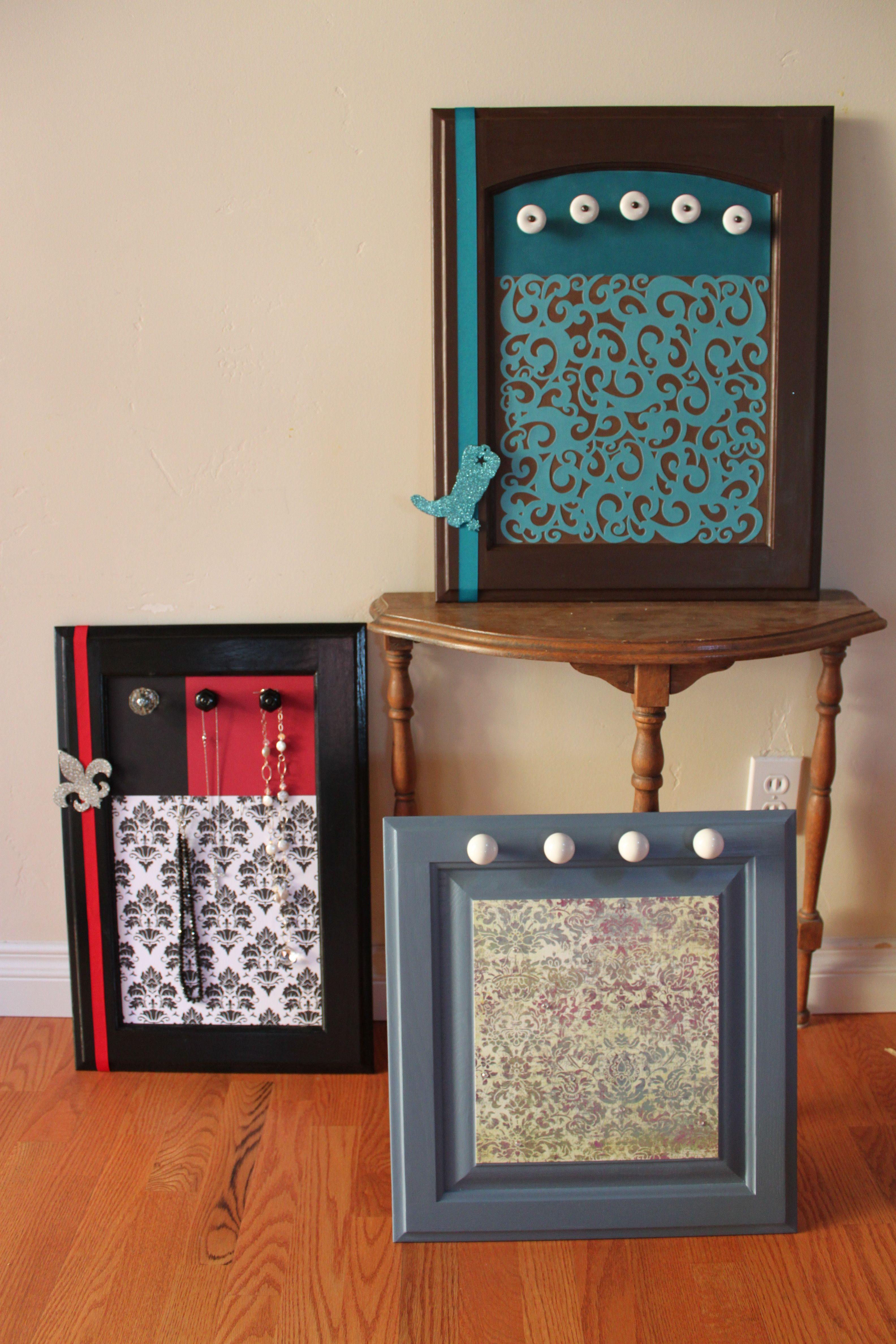 kitchen cabinet door pulls Jewelry display boards made from repurposed kitchen cabinet doors and pulls