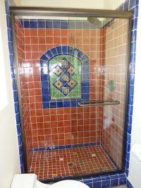 Bathroom shower using Mexican tiles by kristiblackdesigns ...
