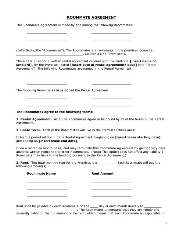 Printable Sample Roommate Agreement Form Form Real Estate Forms - roommate rental agreement