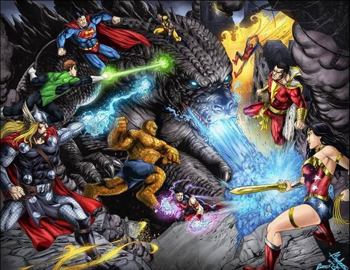 Fall Of Grayskull Wallpaper Godzilla Vs Heroes Colored By Ashkel Deviantart Com On