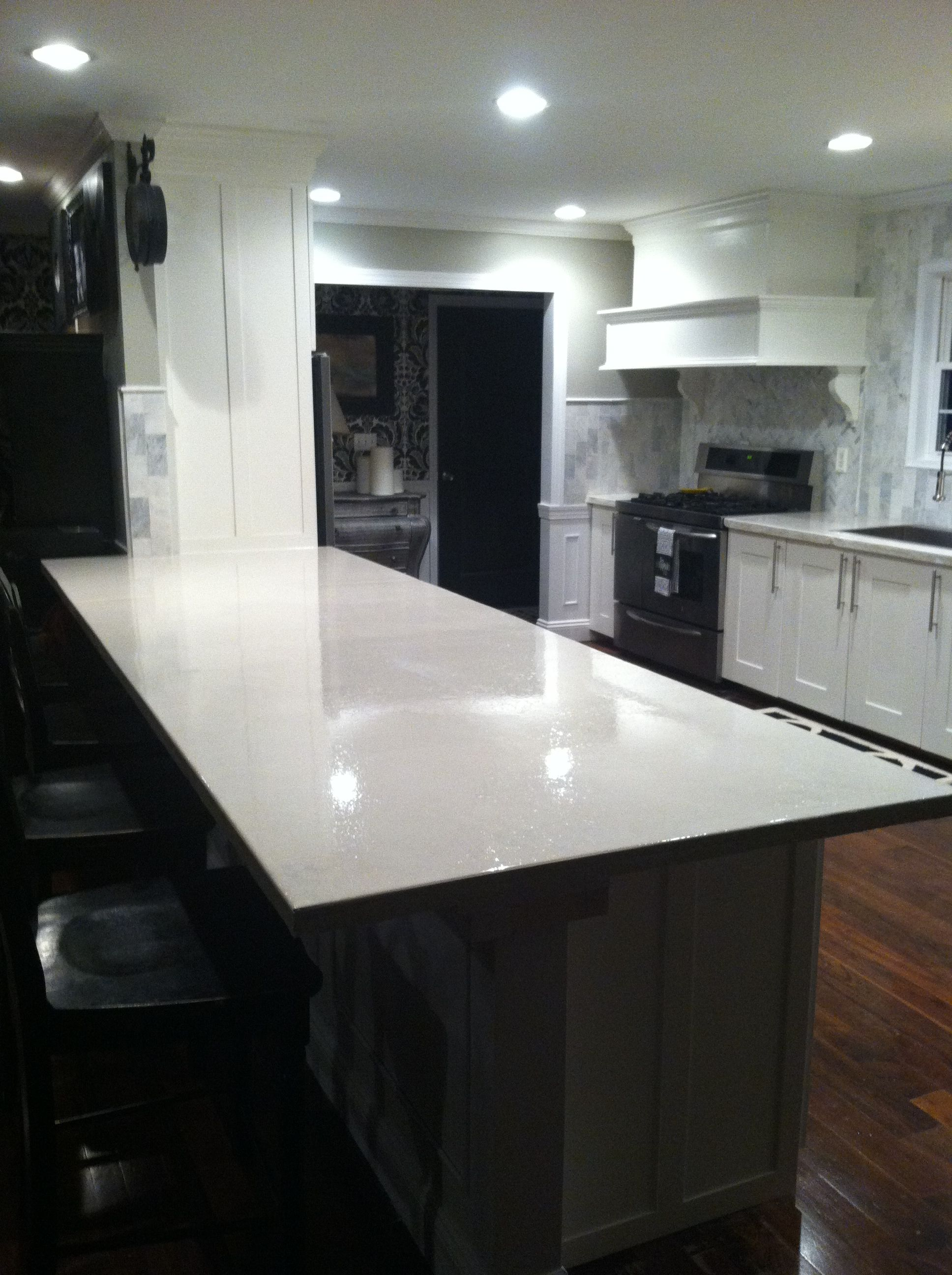 Concrete Countertop Sealers High Gloss Sealed White Concrete Countertops Kitchen