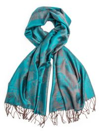 Elana Reversible Teal & Brown Paisley Pashmina Shawl, hand ...