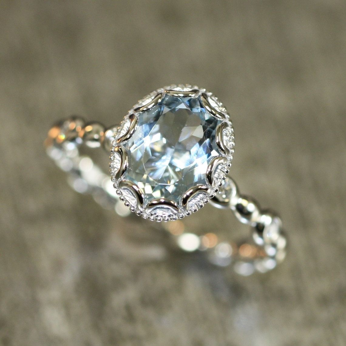vintage wedding ring sets Floral Aquamarine Engagement Ring in 14k White Gold Pebble Diamond Wedding Band mm Oval Aquamarine Ring March Birthstone Gemstone Ring