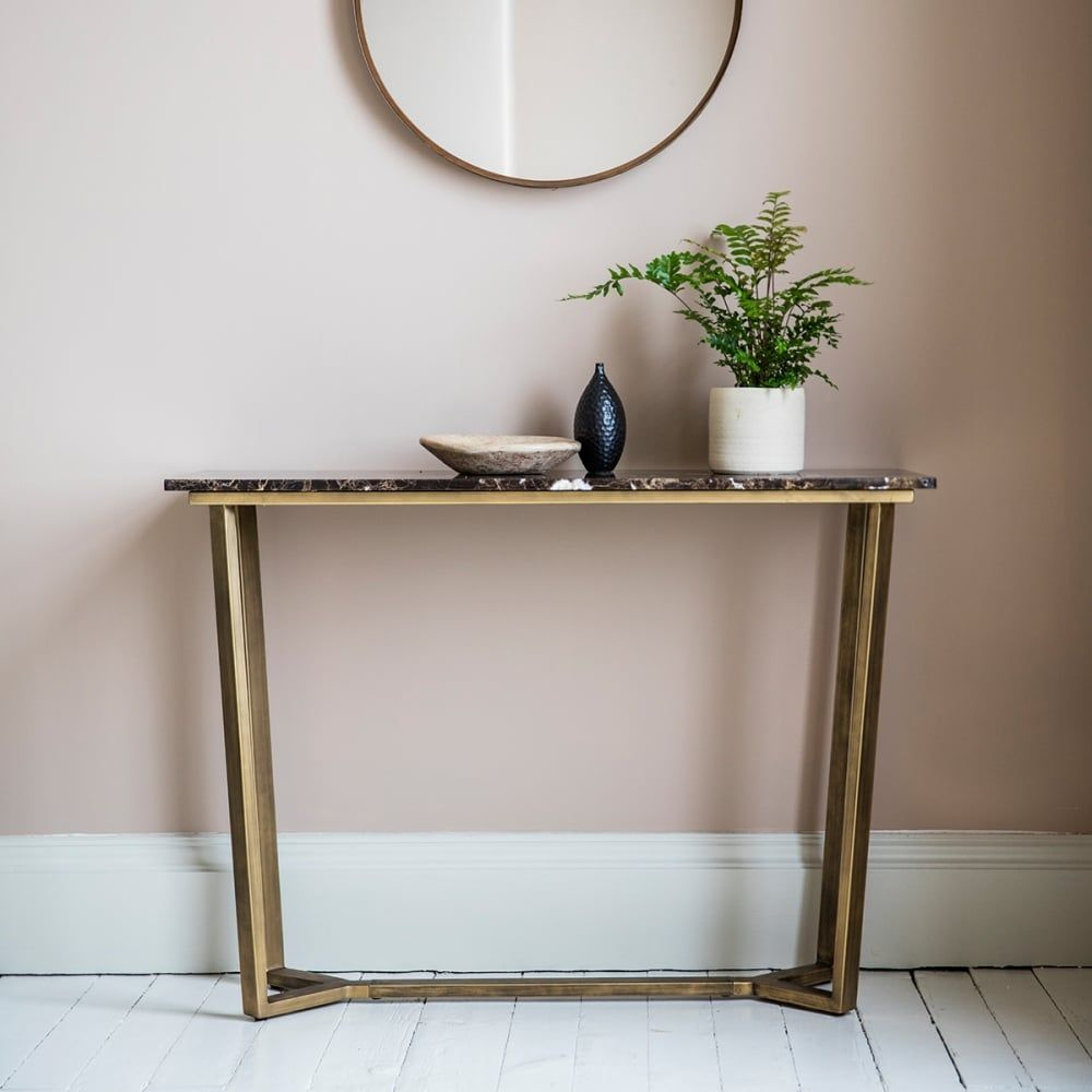 Gatsby contemporary marble console table brown and gold