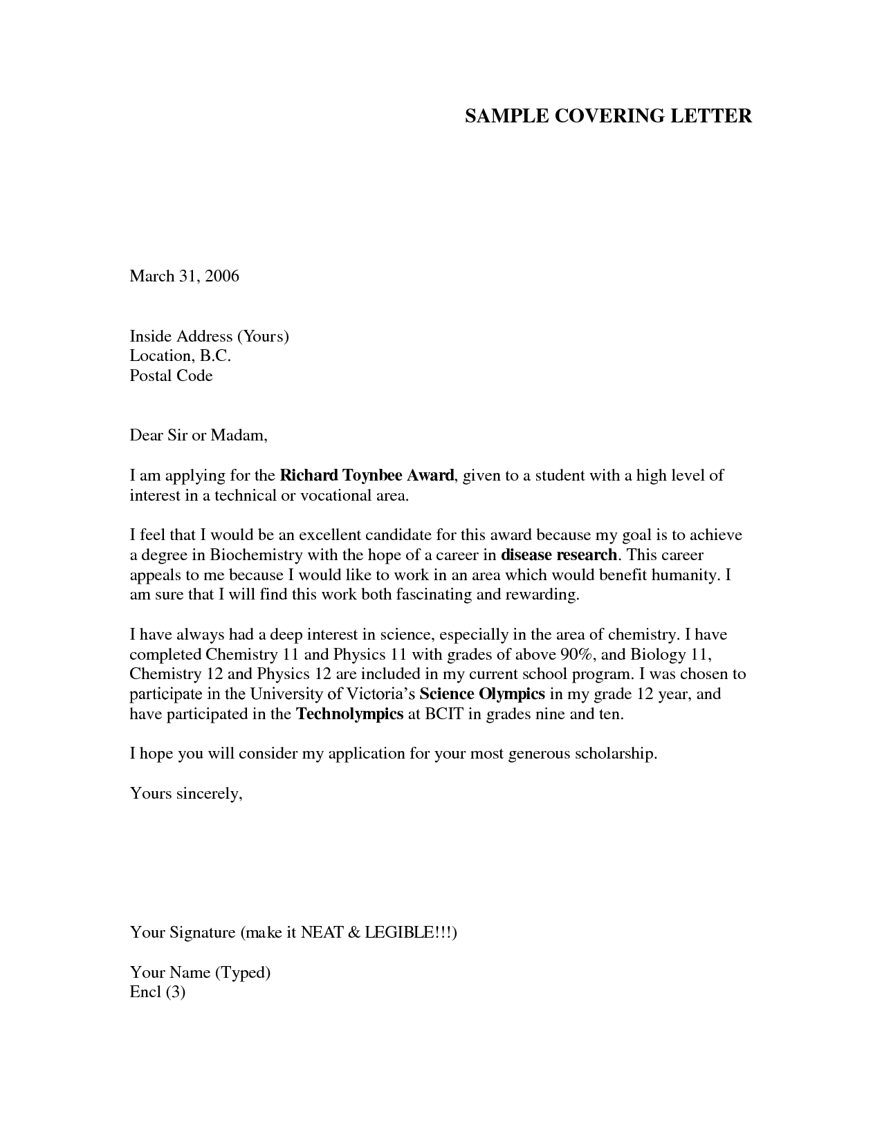 cover letter format for job application