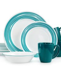 Corelle Brushed Turquoise 16-Pc. Dinnerware Set, Service ...