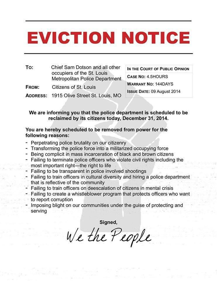 Protesters Storm St Louis Police Headquarters With Eviction - eviction notice template