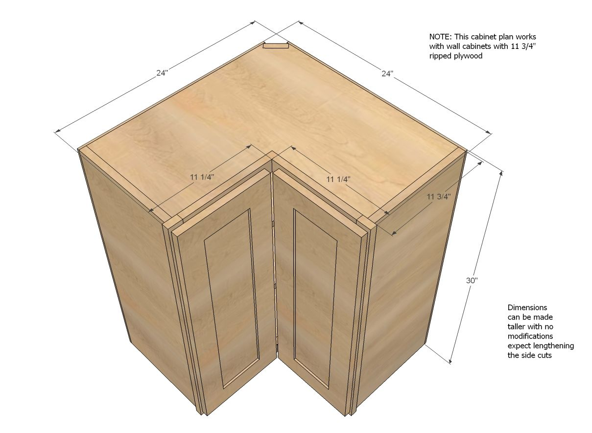 kitchen cabinet plans Ana White Build a Wall Corner Pie Cut Kitchen Cabinet Free and Easy DIY