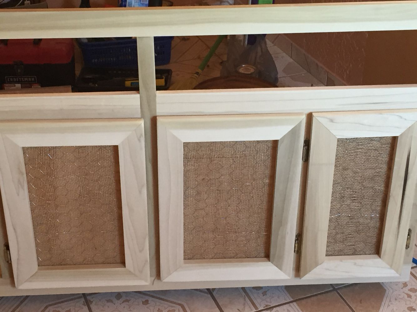 Make Kitchen Cabinet Doors Diy Cabinet Door Used Burlap And Chicken Wire For A More