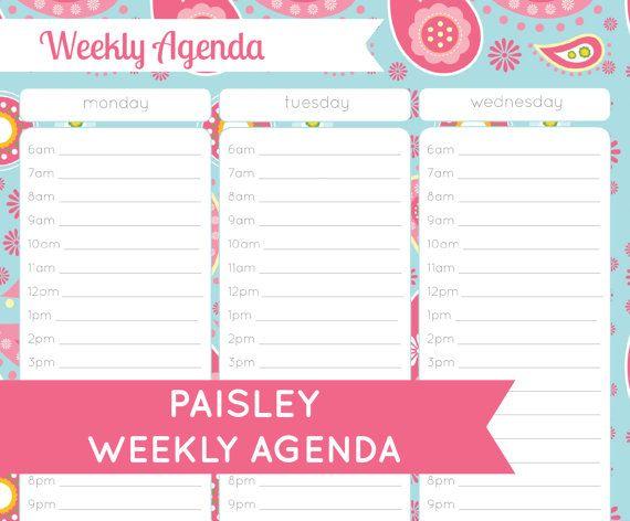 Weekly Agenda Printable Organization Printables Pinterest - weekly agenda