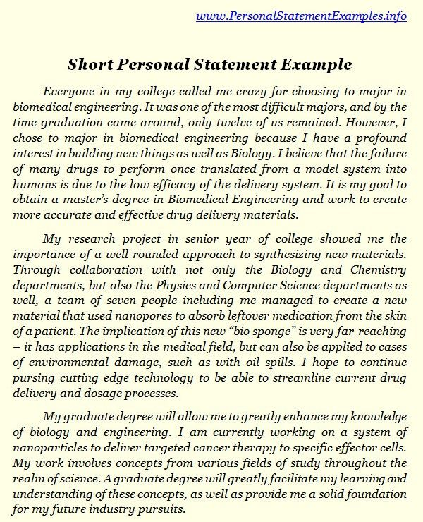 Unique Short Personal Statement Examples http\/\/www - example of a personal development plan sample
