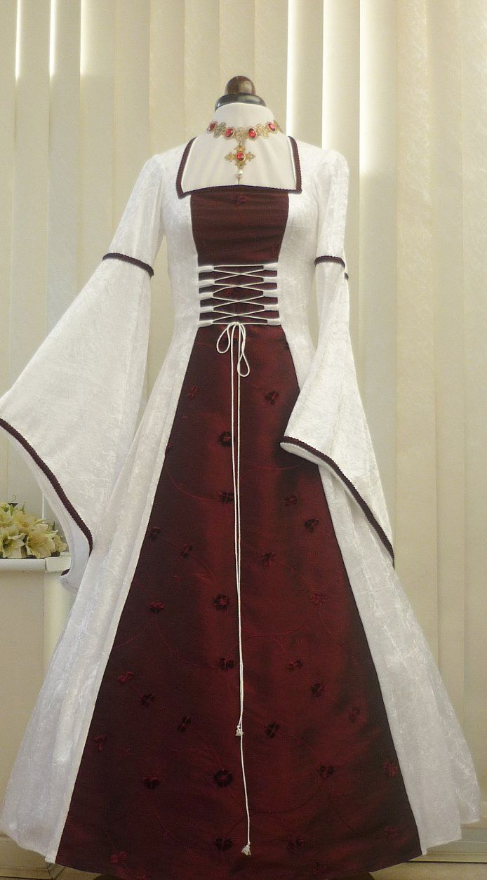 pagan wedding dresses MEDIEVAL PAGAN WHITE AND WINE WEDDING DRESS Dawns Medieval Dresses