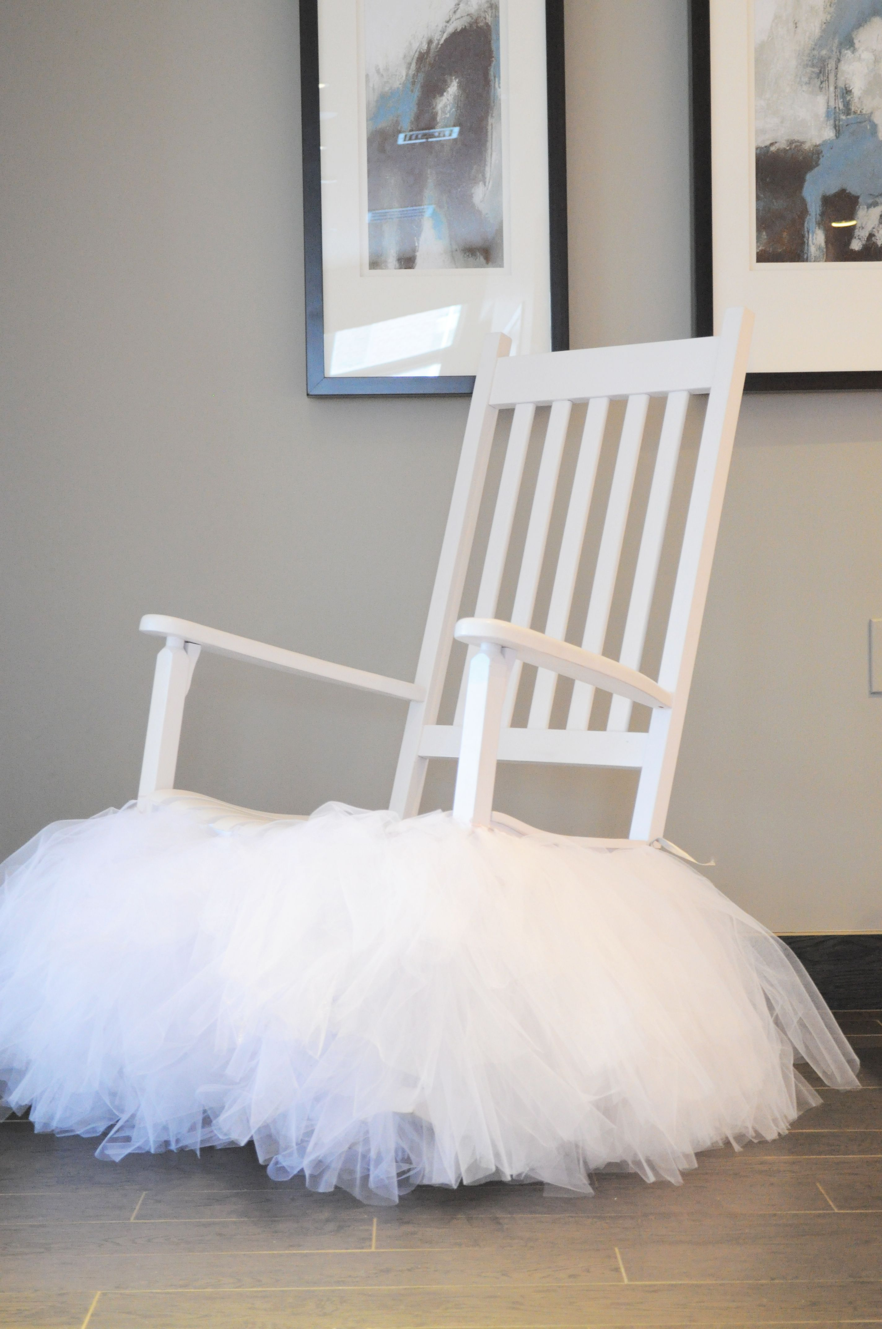 Baby shower mommy to be chair custom made this tutu especially for this rocking chair