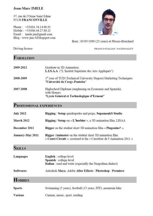 Resume Sample, Writing curriculum vitae english resume format - standard format resume