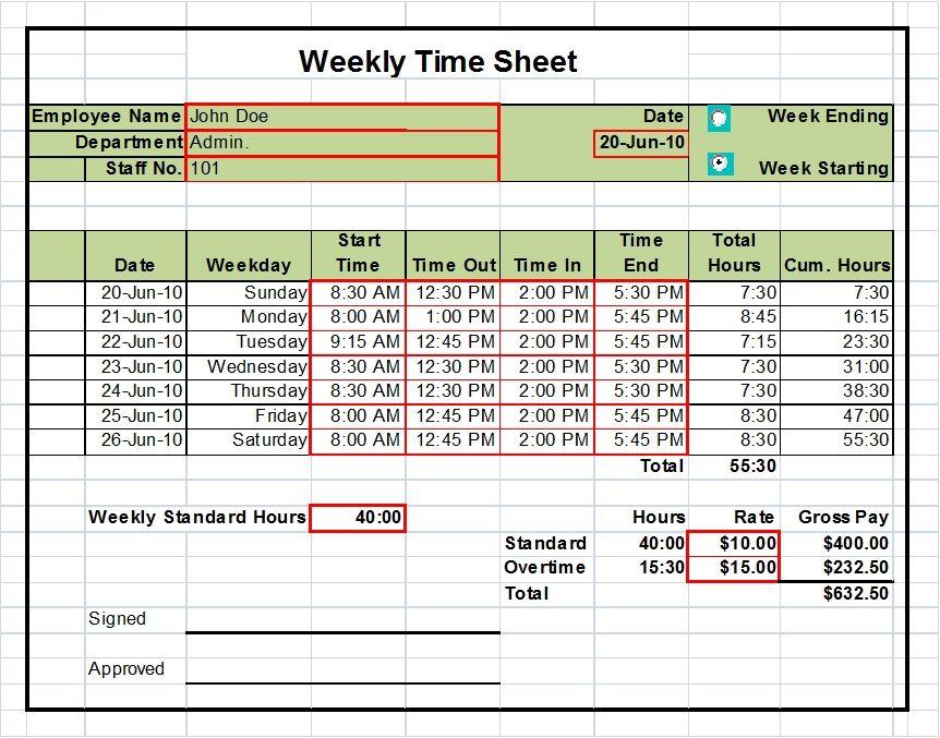 printable time sheets excel - Amitdhull - printable employee time sheet