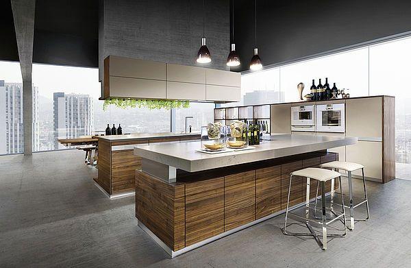 K7 Küche In Nussbaum Mit Lux Barhocker Und K7 Kochinsel   Kuche Mit Kochinsel  Tm Italien