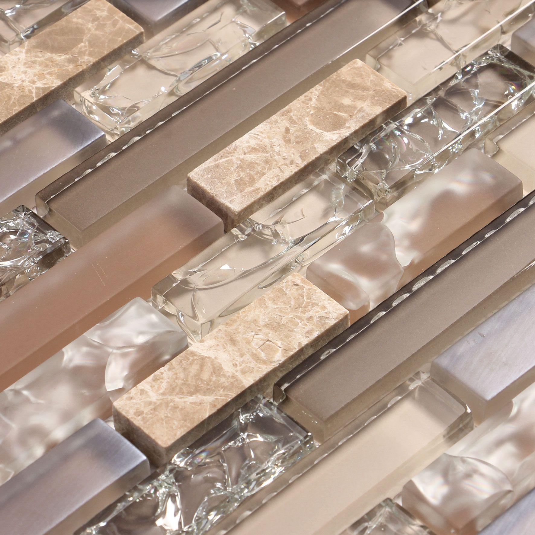 glass tile kitchen backsplash Beige and tan cracked glass tile with stone backsplash tile Eros 4 mosaic glass
